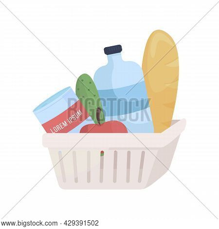 Plastic Container With Grocery Items Semi Flat Color Vector Object. Full Sized Item On White. Superm