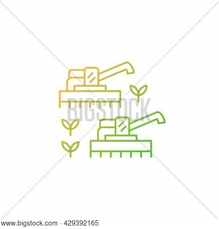 Mechanized Agriculture Gradient Linear Vector Icon. Using Of Equipment And Implement. Mechanisation
