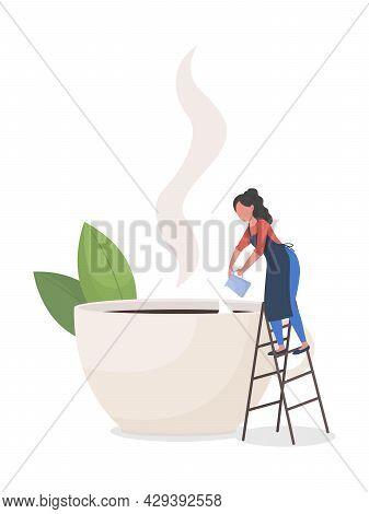 Serving Latte At Coffee Shop Flat Concept Vector Illustration. Female Barista Adding Coffee Creamer