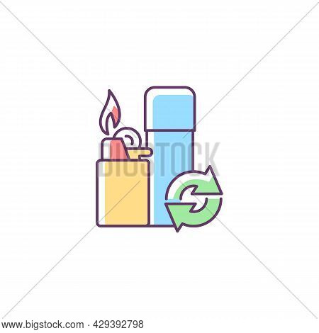 Lighter Refill Rgb Color Icon. Propane And Gas Filling. Domestic Lighting Tool. Reusable Products To