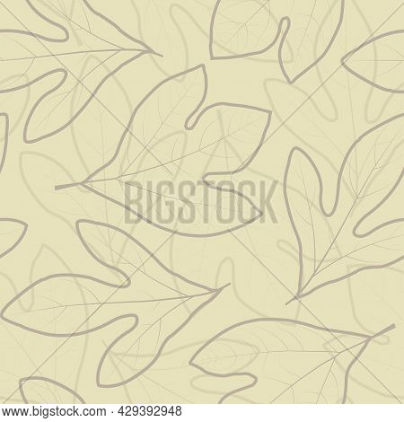 Trendy Artistic Seamless Graphic Ditsy Pattern Design Of Exotic Sassafras Leaves. Artistic Vector Fo