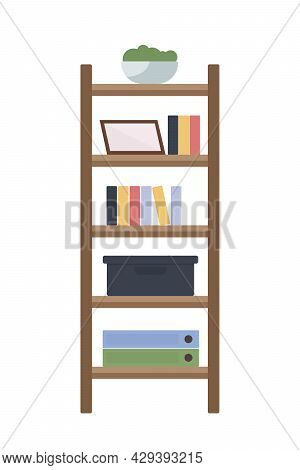 Office Shelving Semi Flat Color Vector Object. Full Sized Item On White. Bookcase For Business Docum