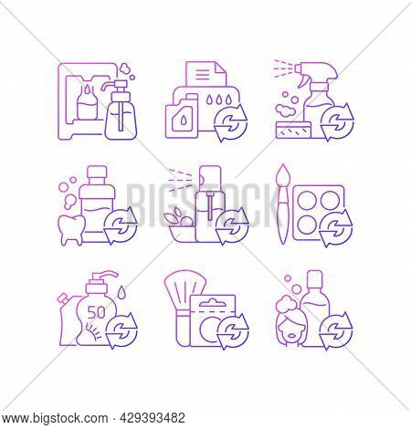 Reusable Products Gradient Linear Vector Icons Set. Eco Friendly Package For Cosmetics. Reusable Pro