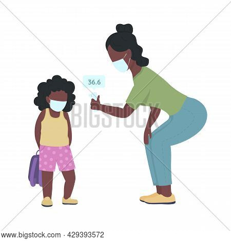 Teacher Taking Child Temperature Semi Flat Color Vector Characters. Full Body People On White. Kid F