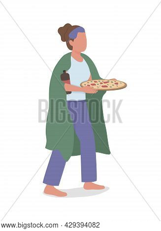 Midnight Snacker Semi Flat Color Vector Character. Full Body Person On White. Girl With Pizza And Ca