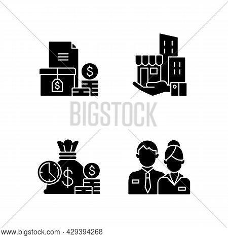 Building Ownership Black Glyph Icons Set On White Space. Asset Management. Account Receivable. Short