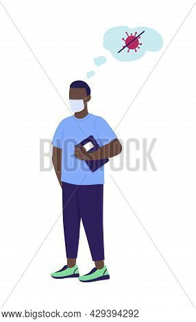 Man Dreaming To Stop Coronavirus Semi Flat Color Vector Character. Full Body Person On White. Fighti