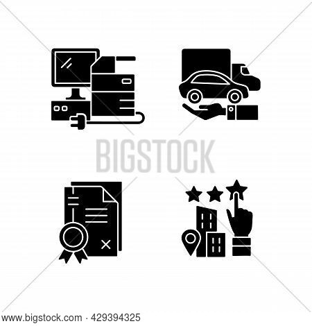Company Image Black Glyph Icons Set On White Space. Granting Of A Property Right. Patents And Goodwi