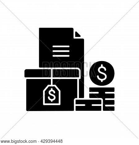 Accounts Receivable Black Glyph Icon. The Balance Of Money Due. Current Asset. Payment Terms. Financ
