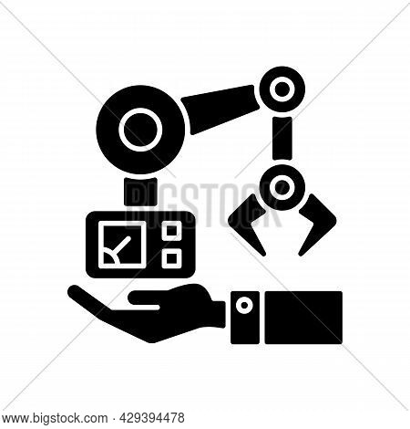 Machinery Owning Black Glyph Icon. Manufacturing Robot Arm. Hand Holds Mechanism. Industrial Plant E