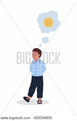 Boy In Bad Mood Semi Flat Color Vector Character. Full Body Person On White. Male Kid Feels Angry An