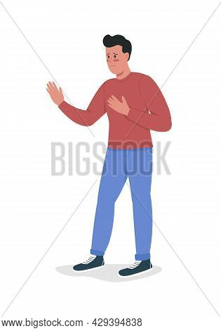 Male Asks For Forgiveness Semi Flat Color Vector Character. Standing Figure. Full Body Person On Whi