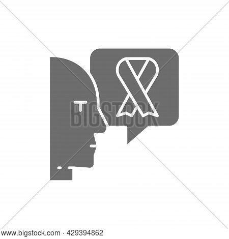 Doctor Talks About Breast Cancer, Malignant Tumor, Oncology Grey Icon.