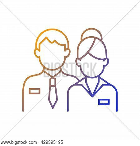 Company Staff Gradient Linear Vector Icon. Man And Woman In Uniform. Official Business Representativ