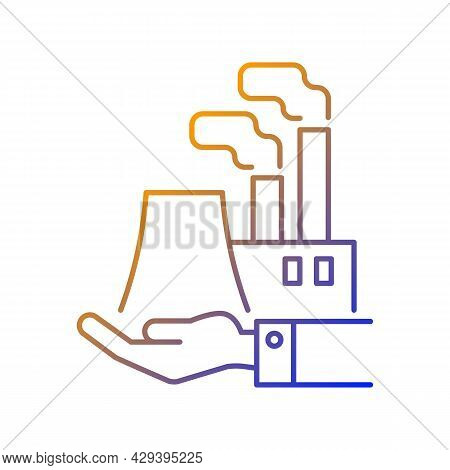 Manufacturing Gradient Linear Vector Icon. Plants And Ownership. Production Of Goods. Machine Indust