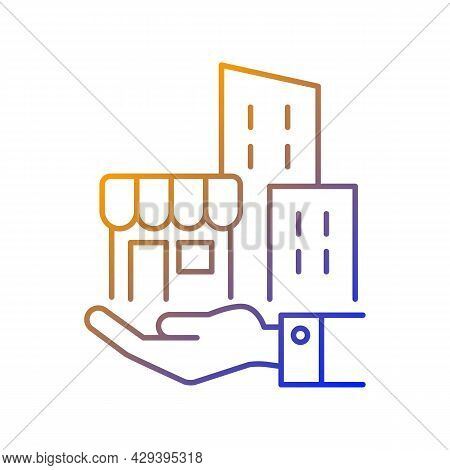 Building Ownership Gradient Linear Vector Icon. Real Estate Business. Hand Holds Architectural Struc