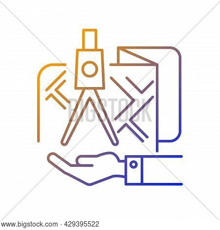Land Owning Gradient Linear Vector Icon. Real Estate Ownership. Square And Compass In The Hand. Cart