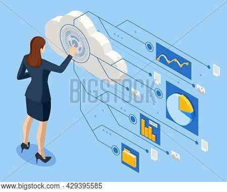 Isometric Business Analysis, Internet Of Things Iot, Cloud Network, Research, Strategy Statistic, Pl