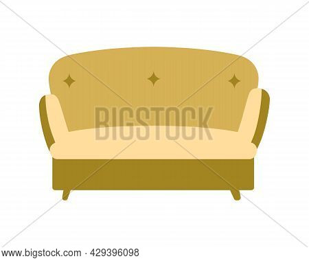 Comfy Mustard Couch Semi Flat Color Vector Object. Full Sized Item On White. Picking Yellow Sofa For