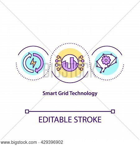 Smart Grid Technology Concept Icon. Intelligent Power And Energy System Abstract Idea Thin Line Illu