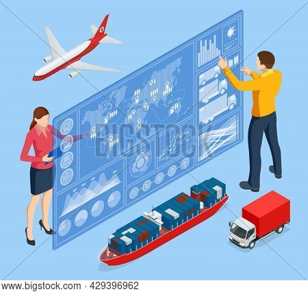 Isometric Global Logistics Network Concept. Interactive Panel For Tracking Cargo Online. Maritime, A