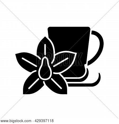 Vanilla Chai Tea Black Glyph Icon. Indian Flavoured Beverage. Tea Like Drink Made Of Anise, Cardamom