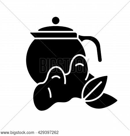 Ginger Tea Black Glyph Icon. Ginger Tea With Lemon And Honey. Rich In Vitamins Soothing Beverage. Fl