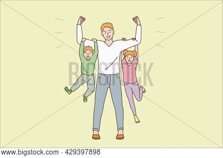 Happy Parenthood And Childhood Concept. Young Smiling Man Father Dad Cartoon Character Standing Hold