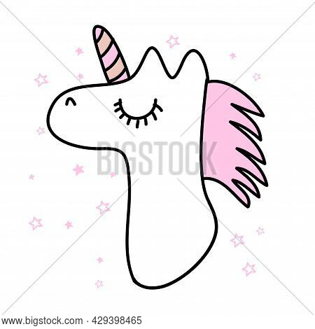 Always Be A Unicorn - Funny Vector  Unicorn Drawing In Nordic Style. Lettering Poster Or T-shirt Tex