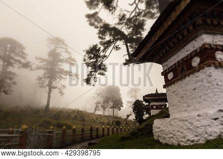 Druk Wangyal, Bhutan - November 12, 2019: 108 Chorten Or Stupas, A Memorial In Honor Of The Bhutanes
