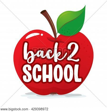 Back To School With Red Apple - Black Typography Design. Good For Clothes, Gift Sets, Photos Or Moti