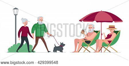 Elderly Couple Retired Grandparents Rest In Park And Relax On Beach. Old People Walk With Dog. Senio