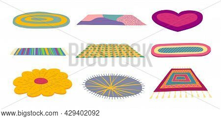 Cartoon Color Different Carpets Or Rugs Icons Set Flat Design Style. Vector Illustration Of Carpet O