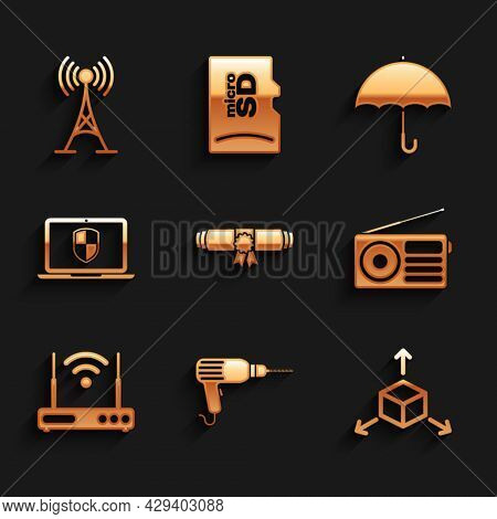 Set Diploma Rolled Scroll, Drill Machine, Isometric Cube, Radio, Router And Wi-fi And Laptop With Sh