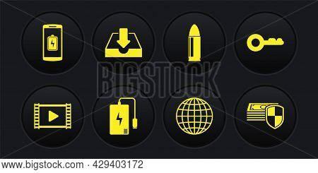 Set Play Video, Key, Power Bank, Earth Globe, Bullet And Download Inbox Icon. Vector