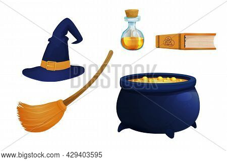 Set Witch Hat With Broom, Caldron, Poison In Bottle And Book Magic Elements In Cartoon Style Isolate