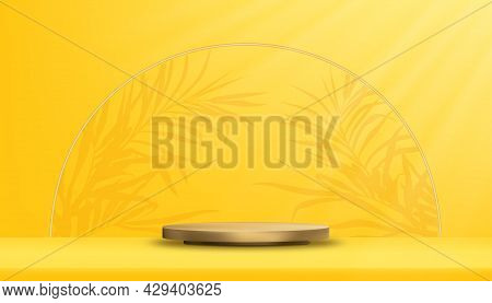 Studio Room With Podium Display And Palm Leaves Border On Yellow Wall Background,vector 3d Golden Cy