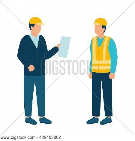 Worker Contractor, Builder Communicate With Build Industry Leader, Architect, Boss In Helmet. Constr
