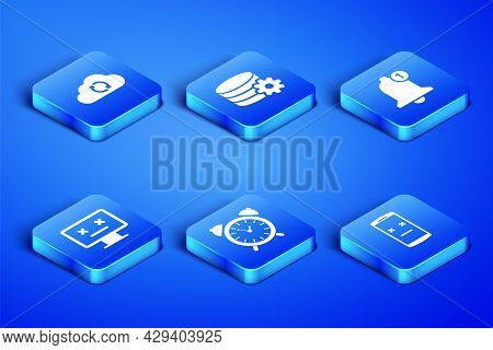 Set Dead Mobile, Cloud Sync Refresh, Alarm Clock, Monitor, Setting Database Server And Bell Icon. Ve