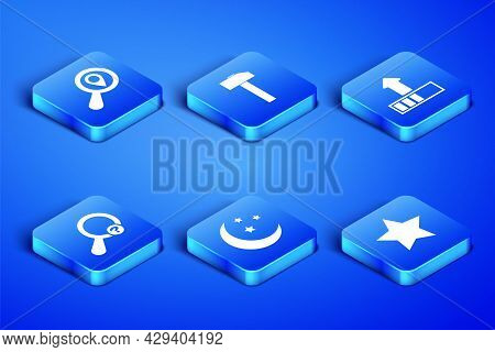 Set Star, Search Location, Moon And Stars, Unknown Search, Hammer And Loading Icon. Vector