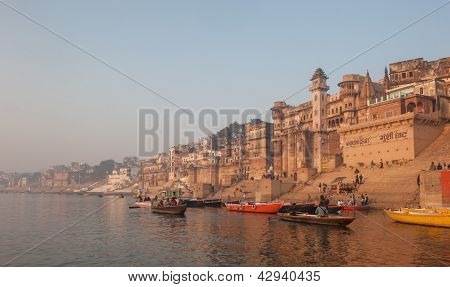 Panorama of holy city Varanasi India, Asia poster
