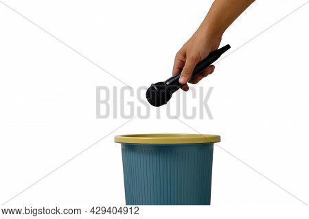 Sound Microphone For Vocal Singing Is Thrown Into Trash, On White Background Isolate