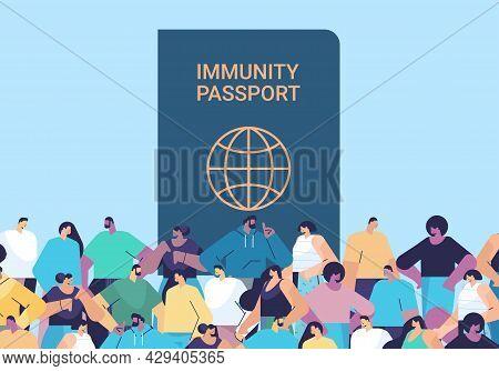 Mix Race People Group Near Global Immunity Passport Risk Free Covid-19 Re-infection Coronavirus Immu