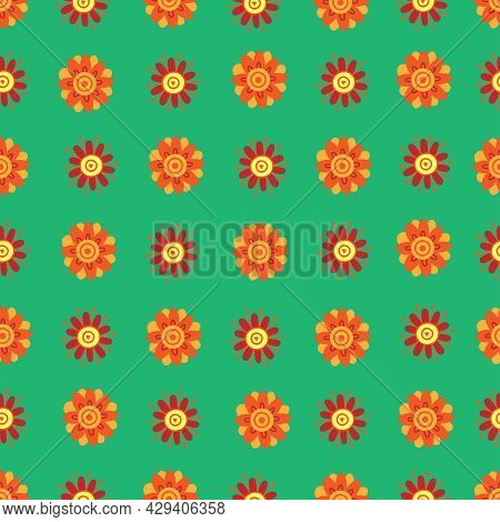 Seamless Pattern With  Cartoon Gerbera Green Background. Floral Print With Plants. Abstract Vector F