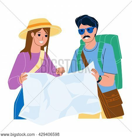Tourist Map Research Man And Woman Couple Vector. Travelers Researching Tourist Map And Searching Mo