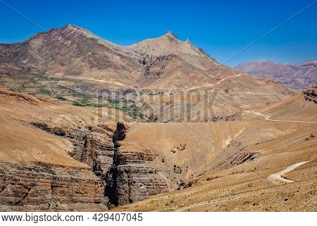 View of Spiti valley in Himalayas with Kibber village. Spiti valley, Himachal Pradesh, India