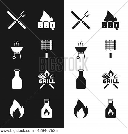 Set Barbecue Steel Grid, Grill, Crossed Fork And Knife, Fire Flame, Ketchup Bottle, Spatula, And Fir