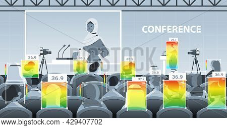 Detecting Elevated Body Temperature Of Businesspeople On Conference Meeting Checking By Non-contact