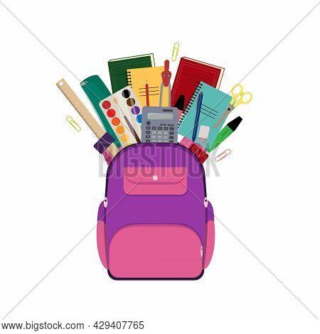 School Bag With Supplies. School Backpack Vector Illustration
