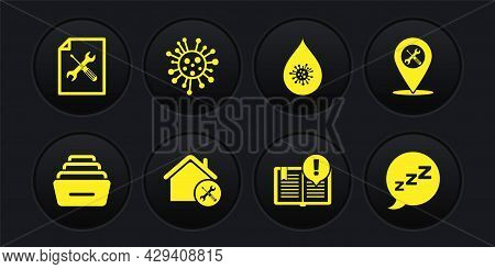 Set Drawer With Documents, Location Service, House, Interesting Facts, Dirty Water Drop, Bacteria, S